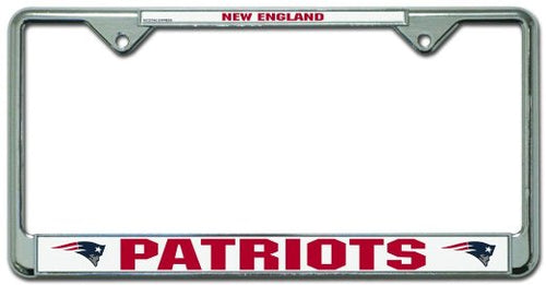 New England Patriots NFL Football Chrome License Plate Frame - Dynasty Sports & Framing