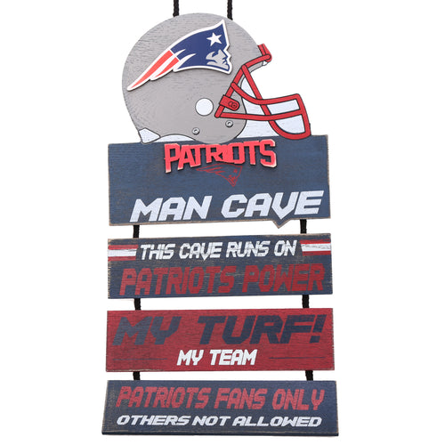New England Patriots NFL Football Wooden Man Cave Sign - Dynasty Sports & Framing
