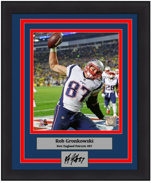 "Rob Gronkowski Touchdown Spike New England Patriots 8"" x 10"" Framed Photo with Engraved Autograph - Dynasty Sports & Framing"
