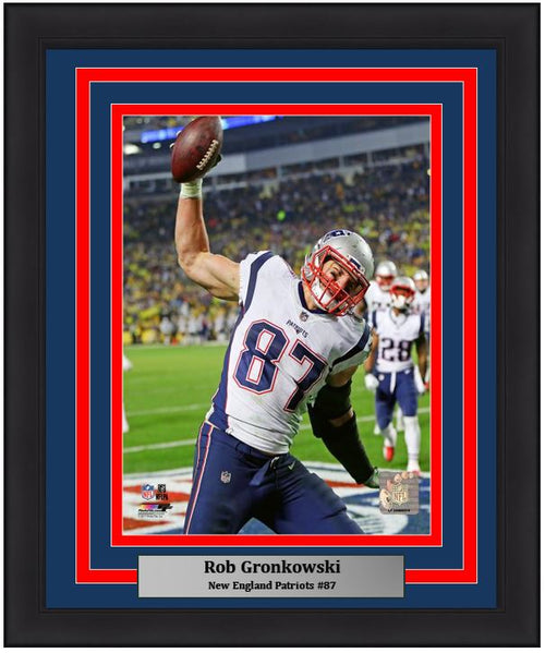 "New England Patriots Rob Gronkowski NFL Football 8"" x 10"" Framed and Matted Photo"