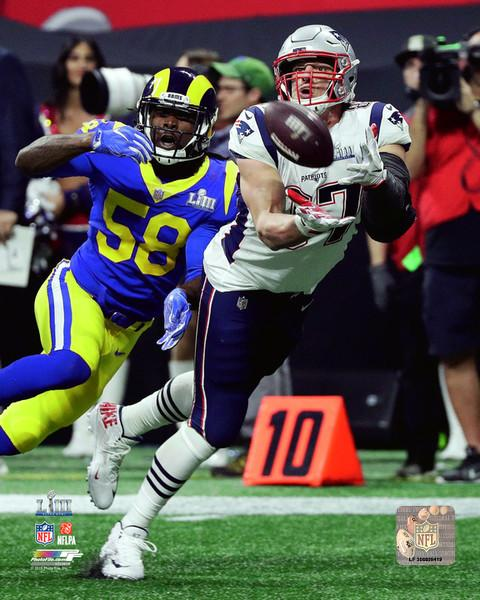 "New England Patriots Rob Gronkowski Super Bowl LIII NFL Football 8"" x 10"" Catch Photo"