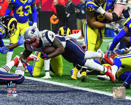"New England Patriots Sony Michel Super Bowl LIII Game-Winning Touchdown NFL Football 8"" x 10"" Photo"