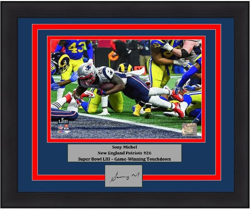 "New England Patriots Sony Michel Super Bowl LIII Game-Winning Touchdown Engraved Autograph NFL Football 8"" x 10"" Framed and Matted Photo (Dynasty Signature Collection)"
