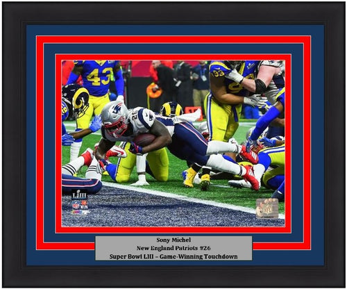 "New England Patriots Sony Michel Super Bowl LIII Game-Winning Touchdown NFL Football 8"" x 10"" Framed and Matted Photo"