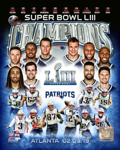 "New England Patriots Super Bowl LIII Champions Collage NFL Football 8"" x 10"" Photo - Dynasty Sports & Framing"