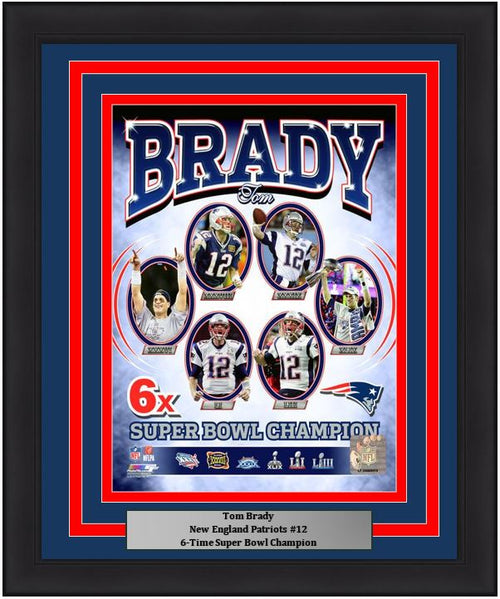 "Tom Brady New England Patriots Six-Time Super Bowl Champion NFL Football 8"" x 10"" Framed and Matted Photo"