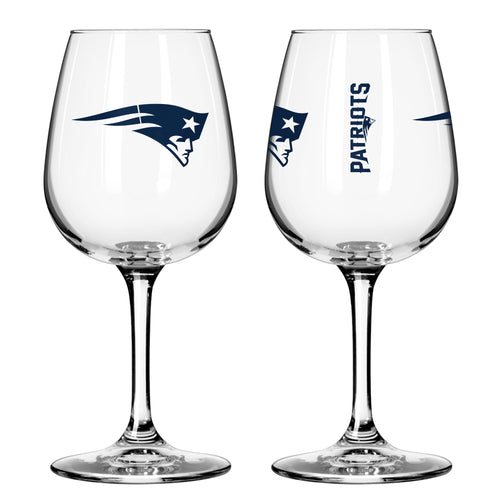 New England Patriots 12 oz. Football Wine Glass - Dynasty Sports & Framing