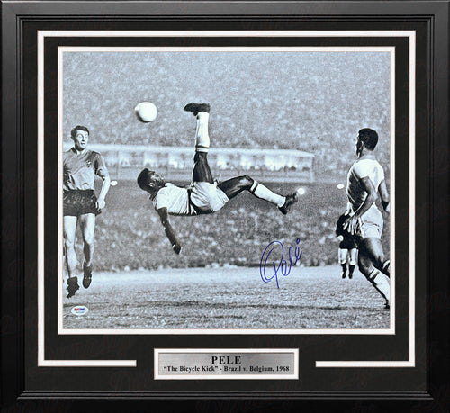 "Pele Bicycle Kick, Brazil v. Belgium Autographed Soccer 16"" x 20"" Framed and Matted Photo - Dynasty Sports & Framing"