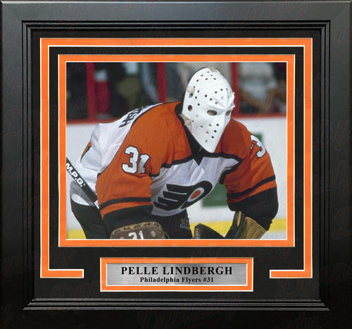 Pelle Lindbergh in Action Philadelphia Flyers Framed Hockey Photo - Dynasty Sports & Framing