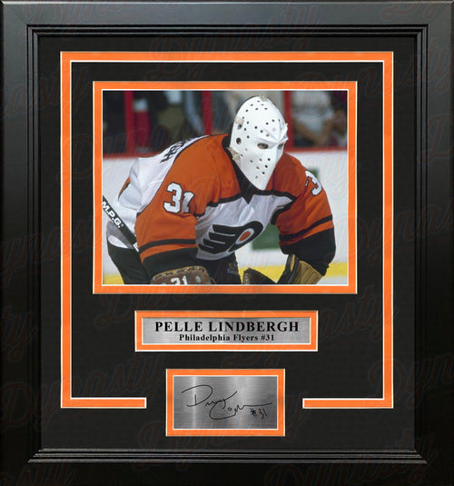 Pelle Lindbergh in Action Philadelphia Flyers Framed Hockey Photo with Engraved Autograph - Dynasty Sports & Framing