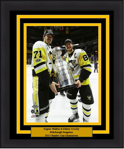 "Pittsburgh Penguins 2017 Stanley Cup Sidney Crosby/Evgeni Malkin 8"" x 10"" Framed and Matted Photo - Dynasty Sports & Framing"