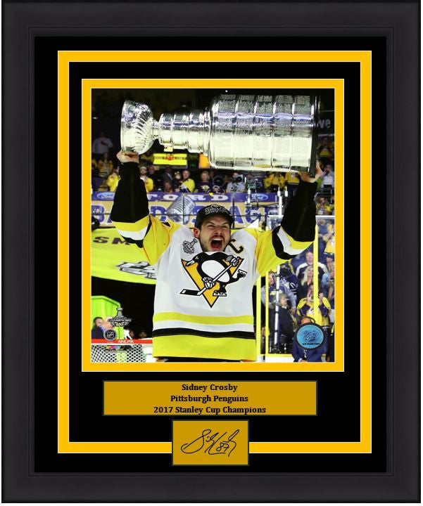 "Pittsburgh Penguins 2017 Stanley Cup Sidney Crosby 8"" x 10"" Framed and Matted Photo with Engraved Signature - Dynasty Sports & Framing"