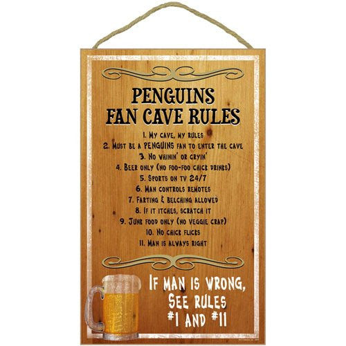 Pittsburgh Penguins Fan Cave Rules NHL Hockey Wooden Sign - Dynasty Sports & Framing
