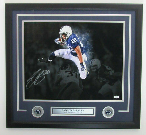 Saquon Barkley Penn State Nittany Lions Autographed NCAA College Blackout Framed and Matted Photo - Dynasty Sports & Framing