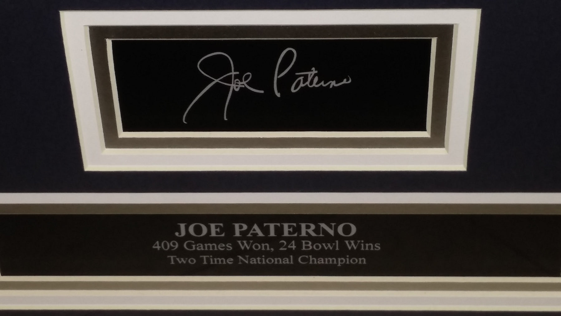 Penn State Joe Paterno Engraved Autograph College Football Framed ...