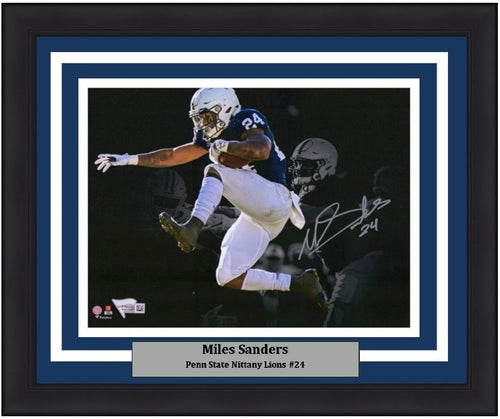 "Miles Sanders Blackout Penn State Nittany Lions Autographed NCAA College Football 8"" x 10"" Framed and Matted Photo"