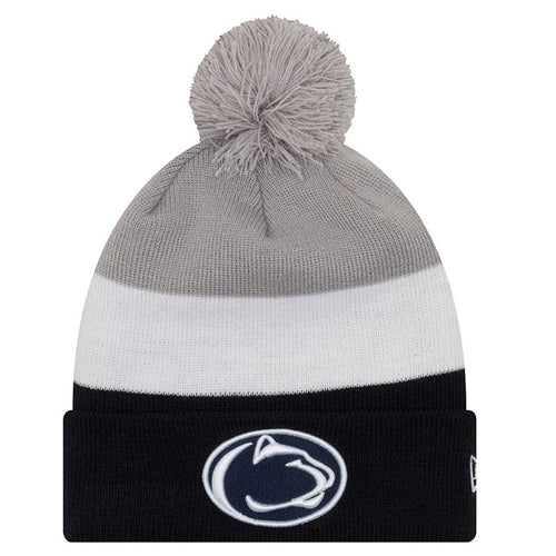 Penn State Nittany Lions New Era Triblock Pom Knit Beanie Hat - Dynasty Sports & Framing