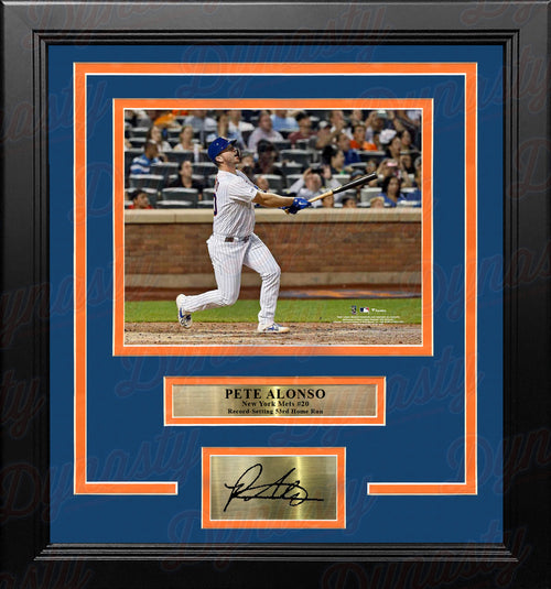 "Pete Alonso Record-Breaking Home Run New York Mets 8"" x 10"" Framed Photo with Engraved Autograph - Dynasty Sports & Framing"