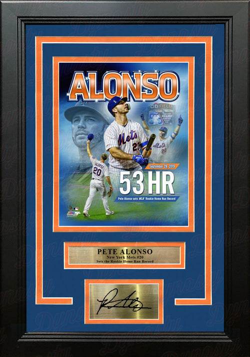 Pete Alonso New York Mets 53 Home Runs Rookie Record 8x10 Framed Photo with Engraved Autograph - Dynasty Sports & Framing