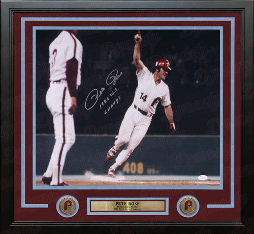 "Pete Rose Philadelphia Phillies 1980 World Series Autographed 16"" x 20"" Framed Photo - Dynasty Sports & Framing"