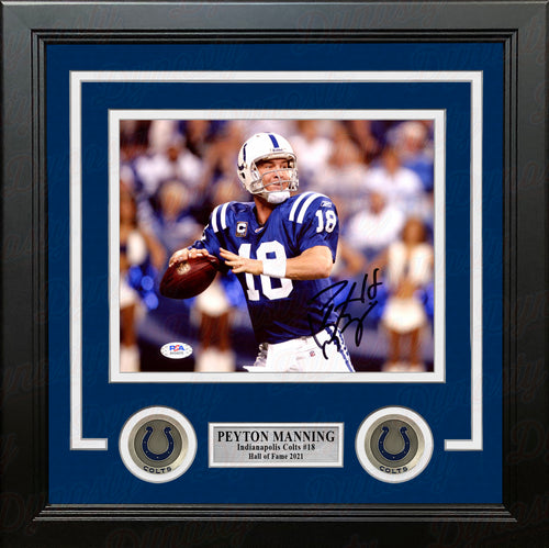 "Peyton Manning in Action Indianapolis Colts Autographed 8"" x 10"" Framed Football Photo - Dynasty Sports & Framing"