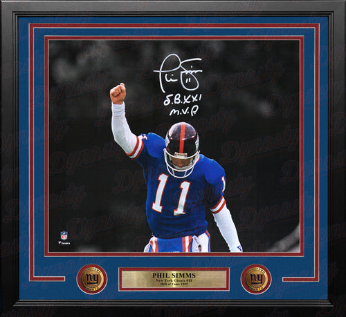 "Phil Simms Spotlight New York Giants Autographed 11x14 Framed Photo With ""SB XXI MVP"" Inscription - Dynasty Sports & Framing"