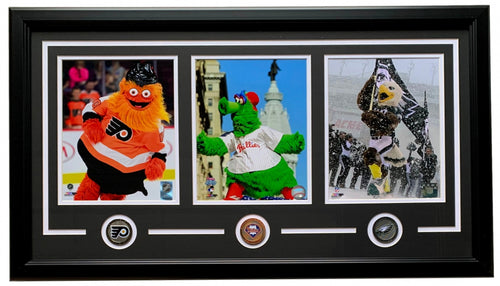 "Philadelphia Sports Mascot 32"" x 18"" Photo Collage - Includes Swoop, the Phillie Phanatic, & Gritty - Dynasty Sports & Framing"