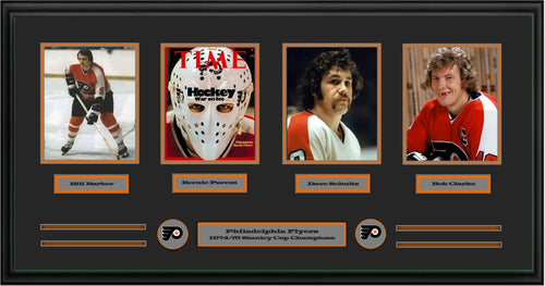 "Philadelphia Flyers 1974-75 Stanley Cup Champions 42"" x 22"" Framed and Matted 4-Player Panorama (Bill Barber, Bernie Parent, Dave Schultz, Bob Clarke) - Dynasty Sports & Framing"
