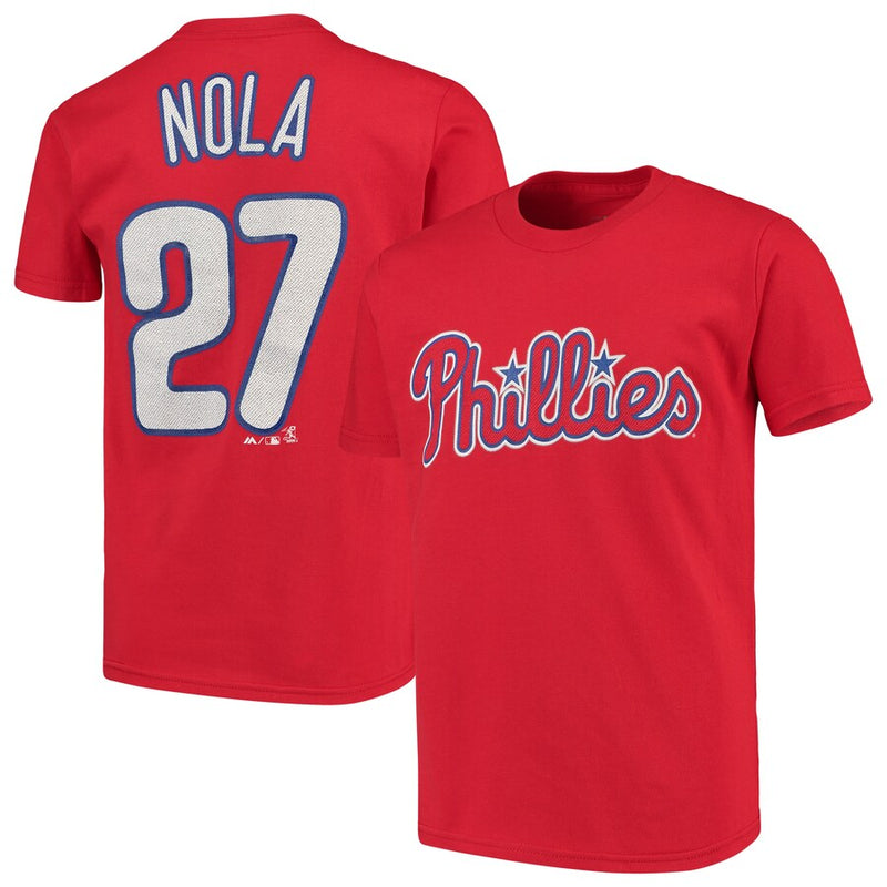 Aaron Nola Philadelphia Phillies Majestic Official Name & Number Youth T-Shirt - Red - Dynasty Sports & Framing