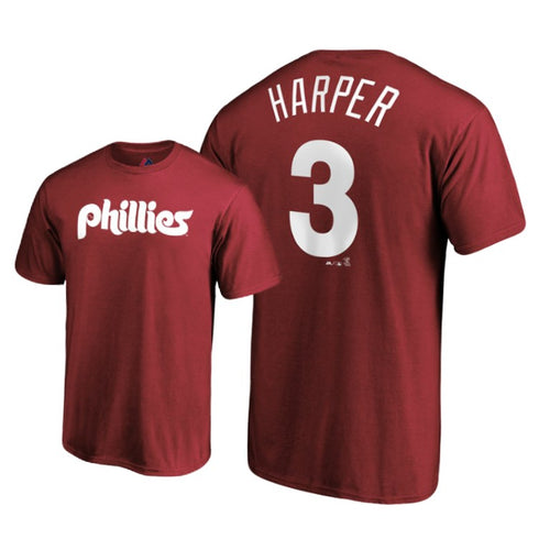 Bryce Harper Philadelphia Phillies Majestic Official Name & Number T-Shirt - Maroon - Dynasty Sports & Framing