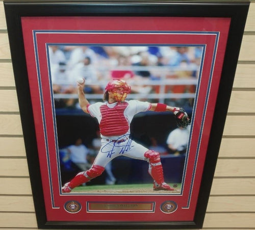 "Darren Daulton Throwing Philadelphia Phillies Autographed 16"" x 20"" Framed Baseball Photo"