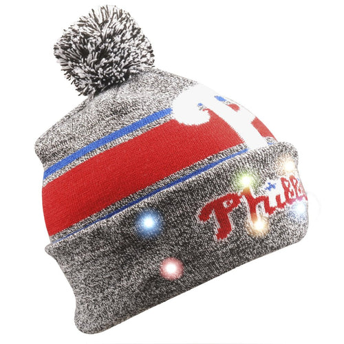 Philadelphia Phillies Gray Stripe Light Up Knit Beanie - Dynasty Sports & Framing