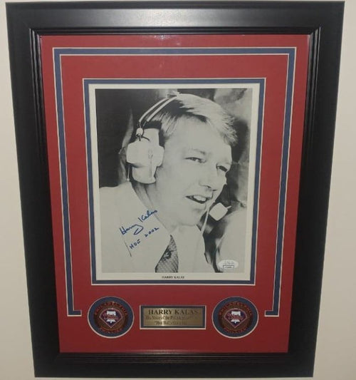 "Harry Kalas Black and White Philadelphia Phillies Autographed 8"" x 10"" Framed Baseball Photo with Hall of Fame Inscription"