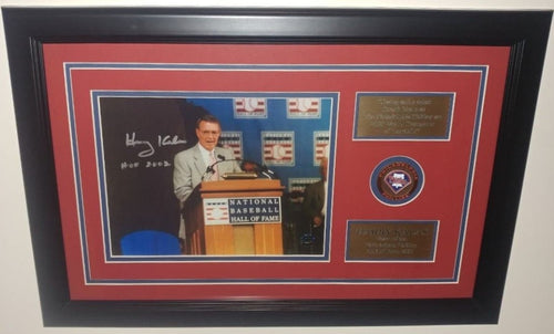Harry Kalas Hall of Fame Philadelphia Phillies Autographed Framed Baseball Photo Collage - Dynasty Sports & Framing