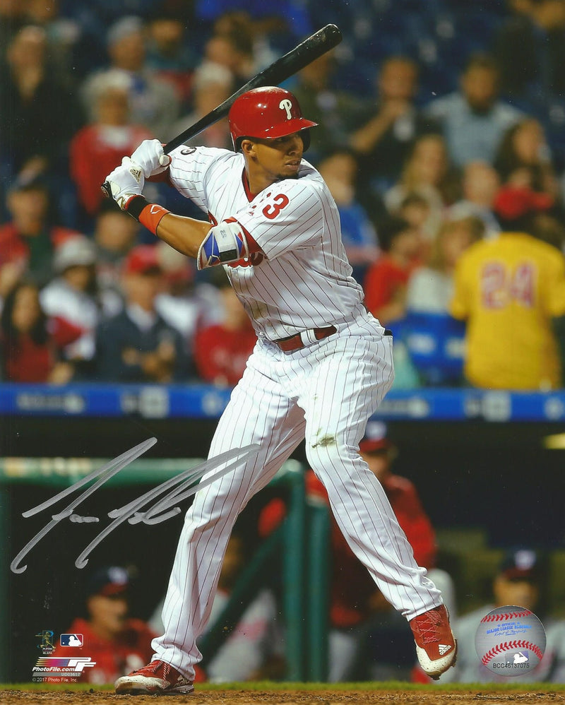 Philadelphia Phillies Aaron Altherr At-Bat Autographed MLB Baseball Photo - Dynasty Sports & Framing