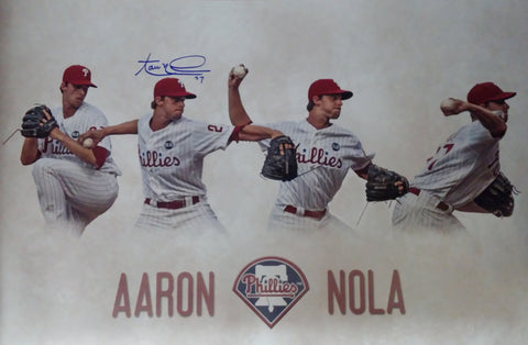 "Aaron Nola Philadelphia Phillies Autographed 16"" x 24"" Collage - Dynasty Sports & Framing  - 1"