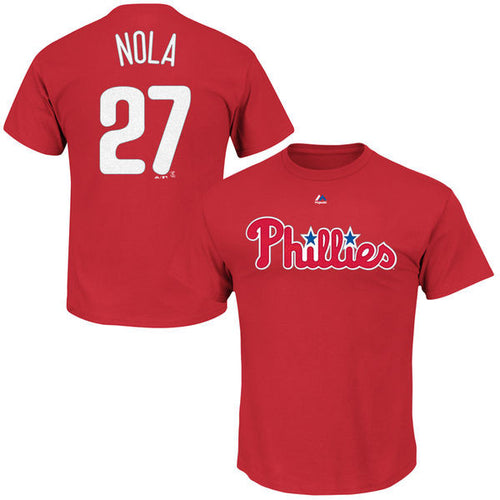 Philadelphia Phillies MLB Baseball Aaron Nola Name & Number T-Shirt - Dynasty Sports & Framing