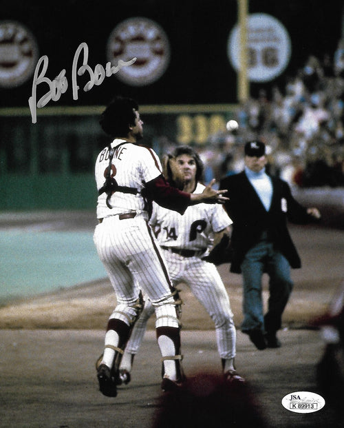 "Bob Boone Philadelphia Phillies 1980 World Series Autographed MLB Baseball 8"" x 10"" Photo"