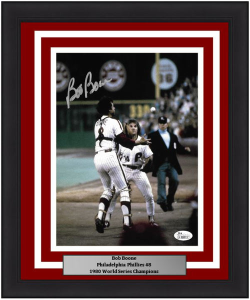 "Bob Boone Philadelphia Phillies 1980 World Series Autographed MLB Baseball 8"" x 10"" Framed and Matted Photo"