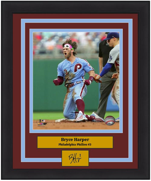 "Bryce Harper with Phanatic Bandana Philadelphia Phillies MLB Baseball 8"" x 10"" Framed and Matted Throwback Photo with Engraved Autograph"