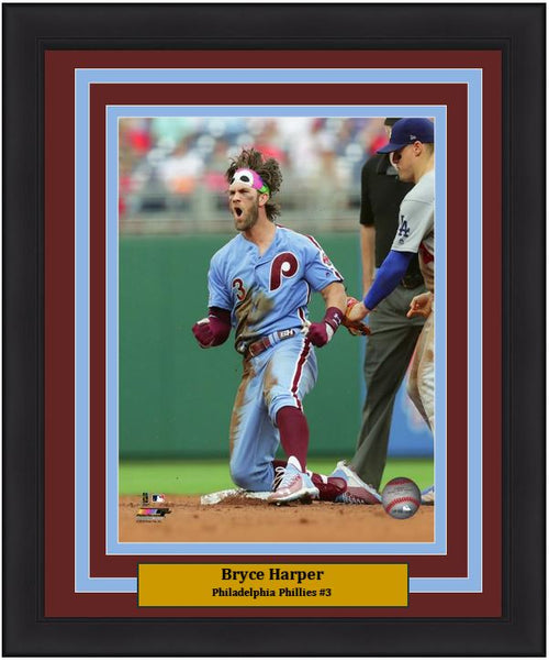 "Bryce Harper with Phanatic Bandana Philadelphia Phillies MLB Baseball 8"" x 10"" Framed and Matted Throwback Photo"
