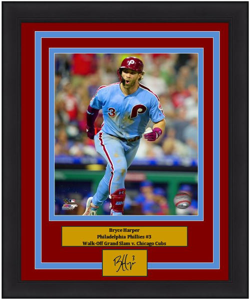 "Bryce Harper Walk-Off Grand Slam Celebration Philadelphia Phillies MLB Baseball 8"" x 10"" Framed and Matted Photo with Engraved Autograph - Dynasty Sports & Framing"