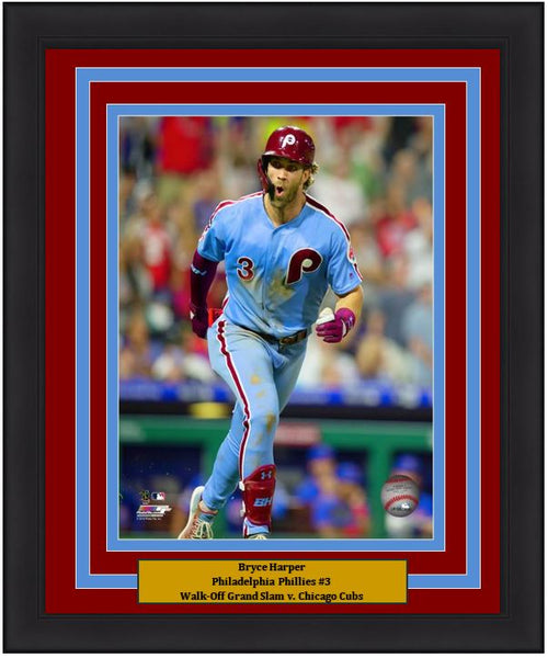 "Bryce Harper Walk-Off Grand Slam Celebration Philadelphia Phillies MLB Baseball 8"" x 10"" Framed and Matted Photo"