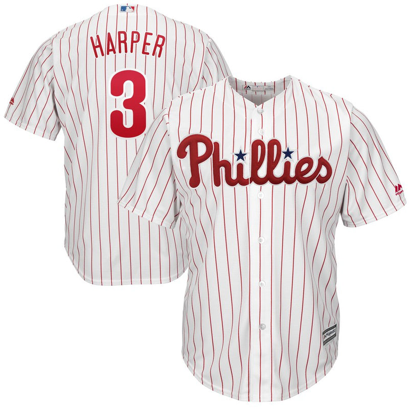 Bryce Harper Philadelphia Phillies Majestic Youth Home Official Cool Base Player Jersey - White - Dynasty Sports & Framing