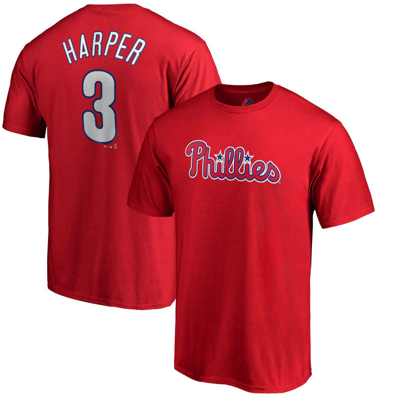 Bryce Harper Philadelphia Phillies Majestic Official Name & Number T-Shirt - Red