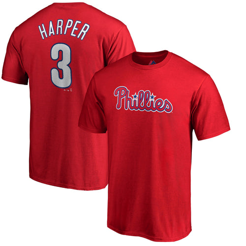 Bryce Harper Philadelphia Phillies Majestic Official Name & Number Youth T-Shirt - Red - Dynasty Sports & Framing