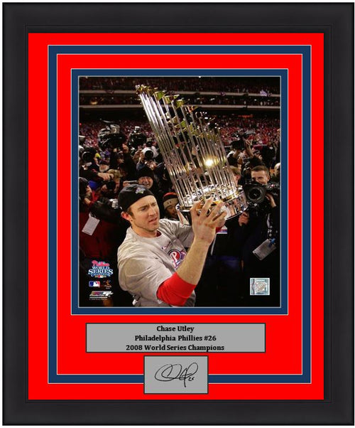 "Chase Utley Philadelphia Phillies 2008 World Series Trophy MLB Baseball 8"" x 10"" Framed and Matted Photo with Engraved Autograph - Dynasty Sports & Framing"