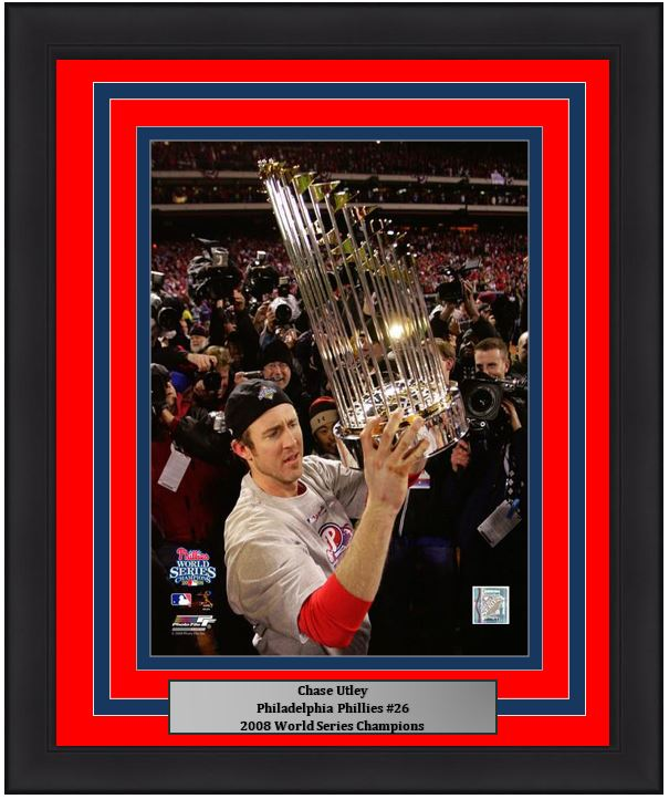 "Chase Utley Philadelphia Phillies 2008 World Series Trophy MLB Baseball 8"" x 10"" Framed and Matted Photo - Dynasty Sports & Framing"