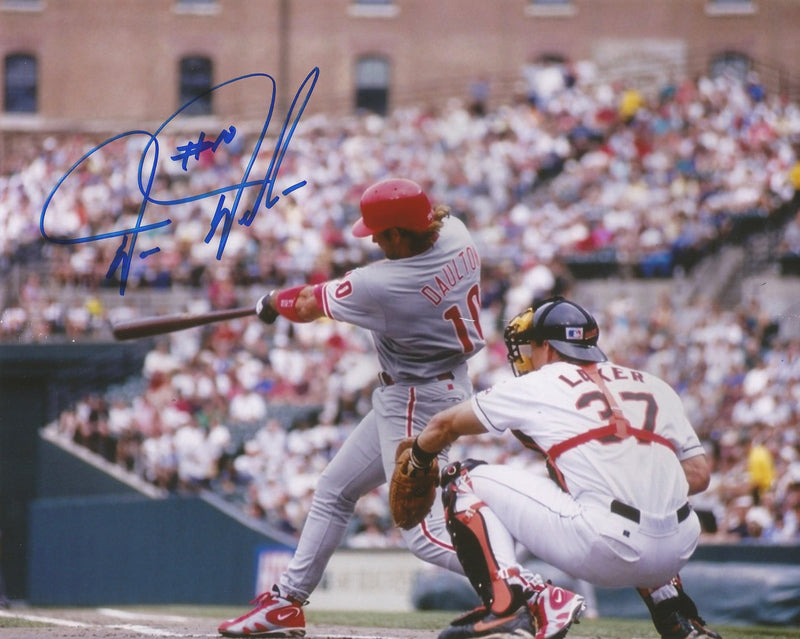 Darren Daulton Philadelphia Phillies Autographed Away Photo - Dynasty Sports & Framing  - 1