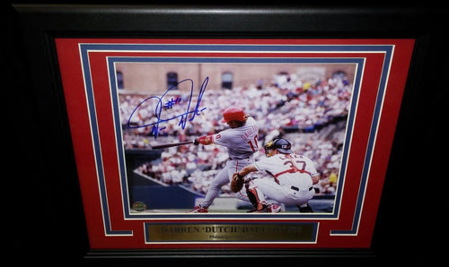 Philadelphia Phillies Darren Daulton Road Swing Autographed MLB Baseball Framed and Matted Photo